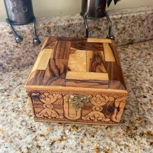 Vintage Olive Wood Trinket Jewelry box